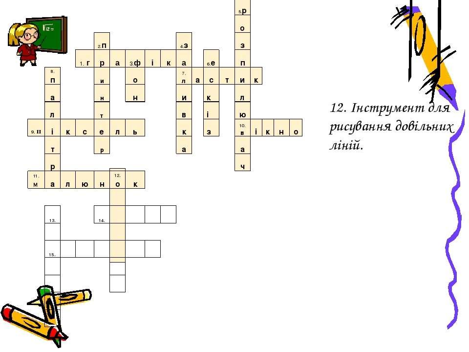12. Інструмент для рисування довільних ліній. 5.р о 2.п 4.з з 1.г р а 3.ф і к...