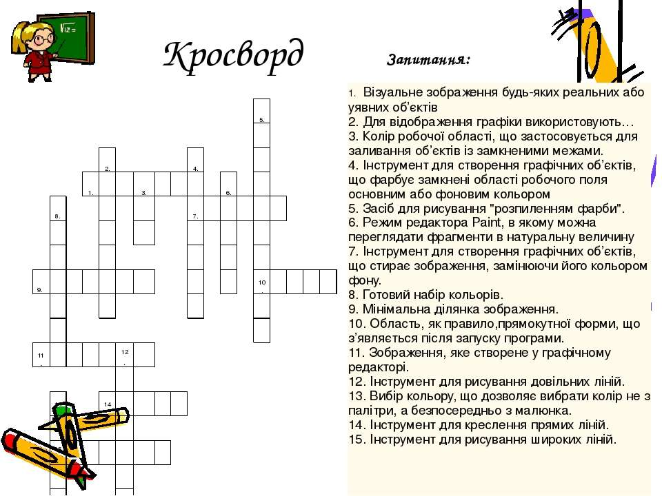 Кросворд Запитання: 5. 2. 4. 1. 3. 6. 8. 7. 9. 10. 11. 12. 13. 14. 15. 1.Візу...