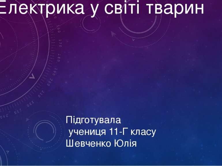 Електрика у світі тварин Підготувала учениця 11-Г класу Шевченко Юлія