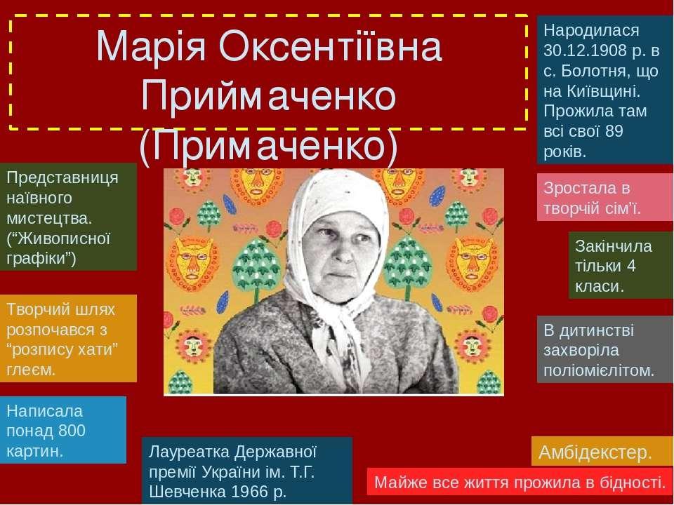 Марія Оксентіївна Приймаченко (Примаченко) Народилася 30.12.1908 р. в с. Боло...