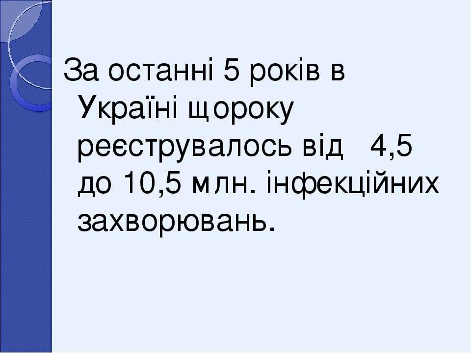 За останні 5 років в Україні щороку реєструвалось від 4,5 до 10,5 млн. інфекц...