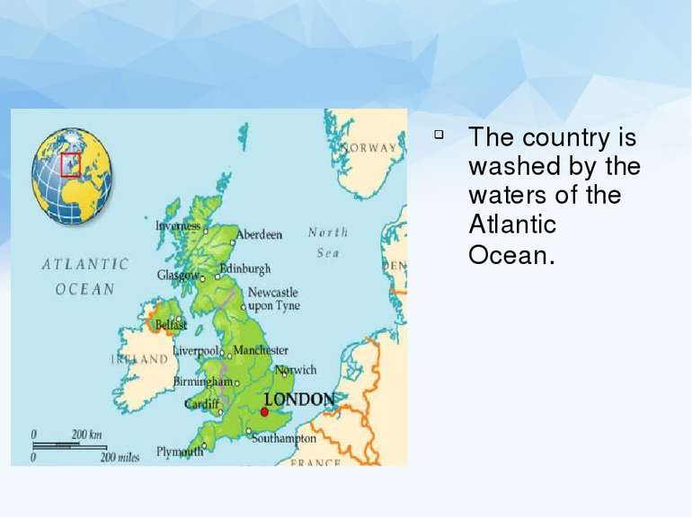 The country is washed by the waters of the Atlantic Ocean.