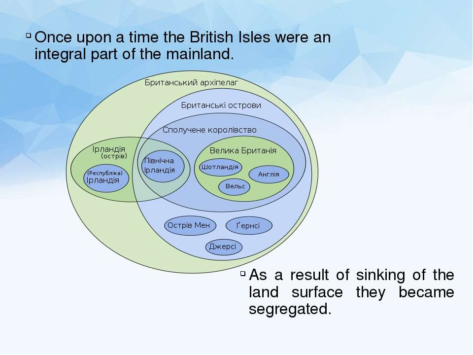 Once upon a time the British Isles were an integral part of the mainland. As ...