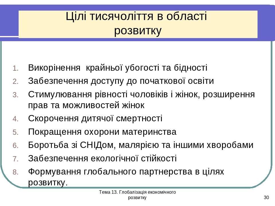 Тема 13. Глобалізація економічного розвитку * Цілі тисячоліття в області розв...