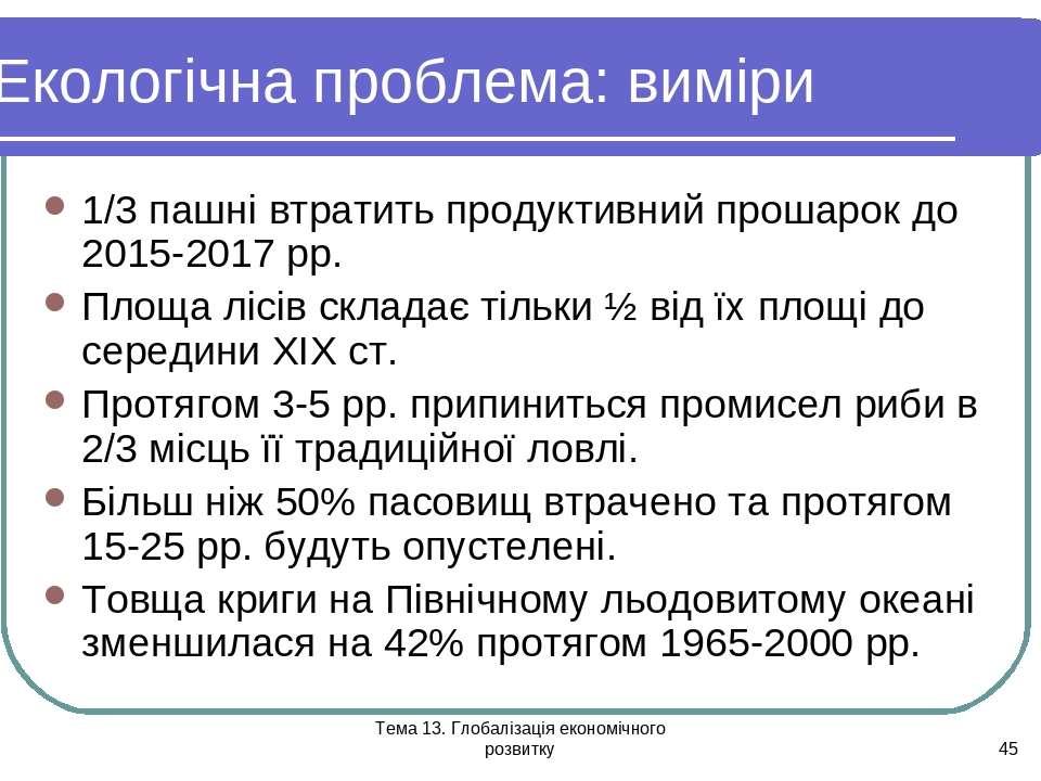 Тема 13. Глобалізація економічного розвитку * Екологічна проблема: виміри 1/3...