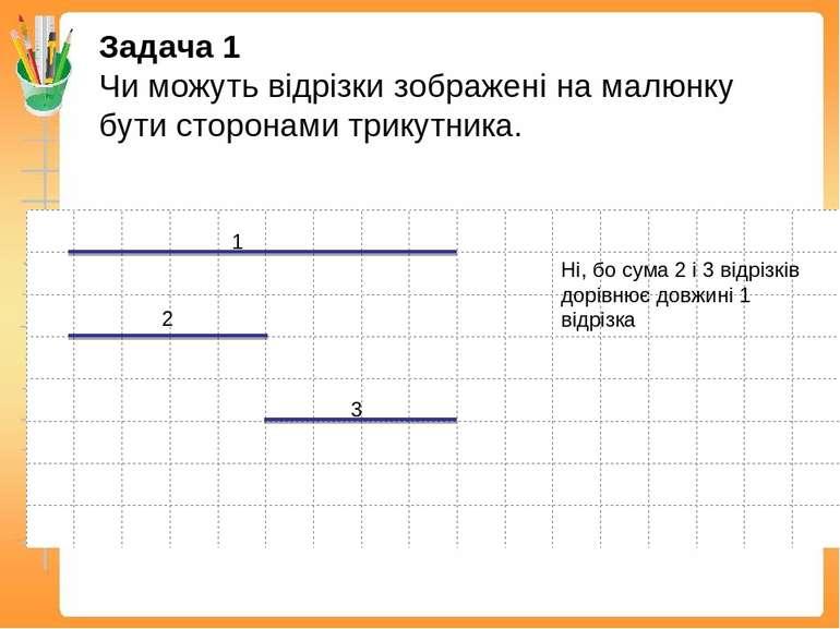 Задача 1 Чи можуть відрізки зображені на малюнку бути сторонами трикутника. 1...
