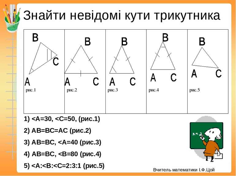 Знайти невідомі кути трикутника 1)