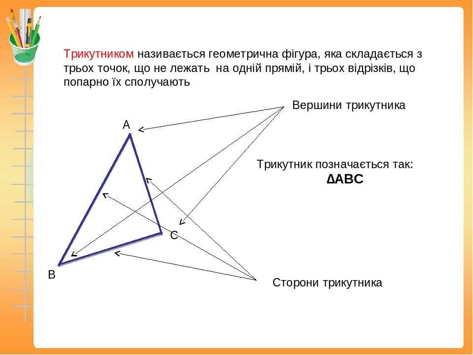 Трикутником називається геометрична фігура, яка складається з трьох точок, що...