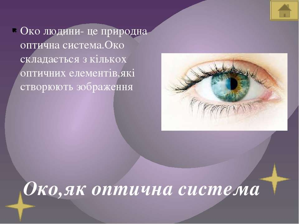 Око,як оптична система Око людини- це природна оптична система.Око складаєтьс...