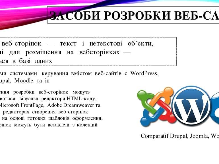 ЗАСОБИ РОЗРОБКИ ВЕБ-САЙТІВ Контент веб-сторінок — текст і нетекстові об...