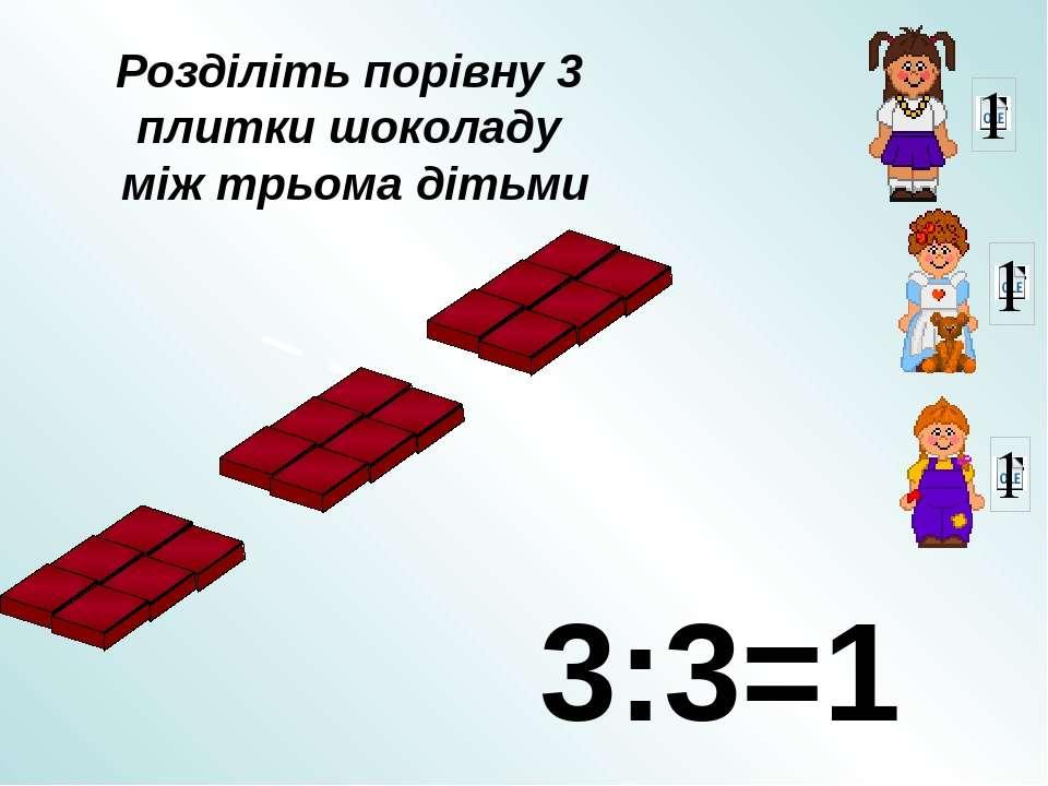 Розділіть порівну 3 плитки шоколаду між трьома дітьми 3:3=1