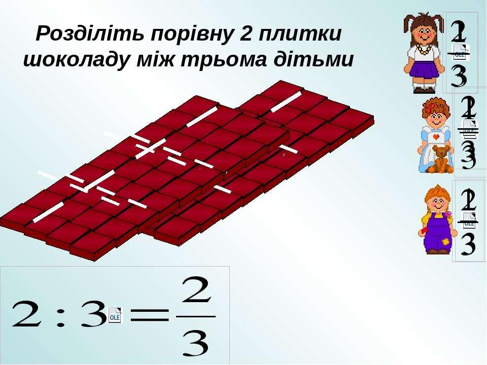 Розділіть порівну 2 плитки шоколаду між трьома дітьми