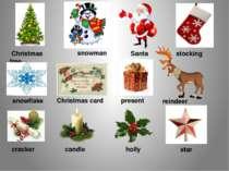 Christmas tree snowman Santa stocking snowflake Christmas card present reinde...