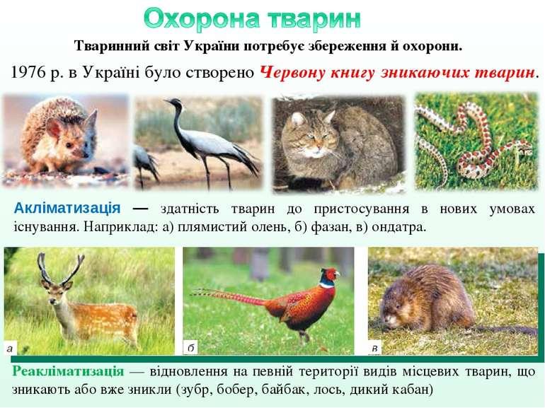 Акліматизація — здатність тварин до пристосування в нових умовах існування. Н...