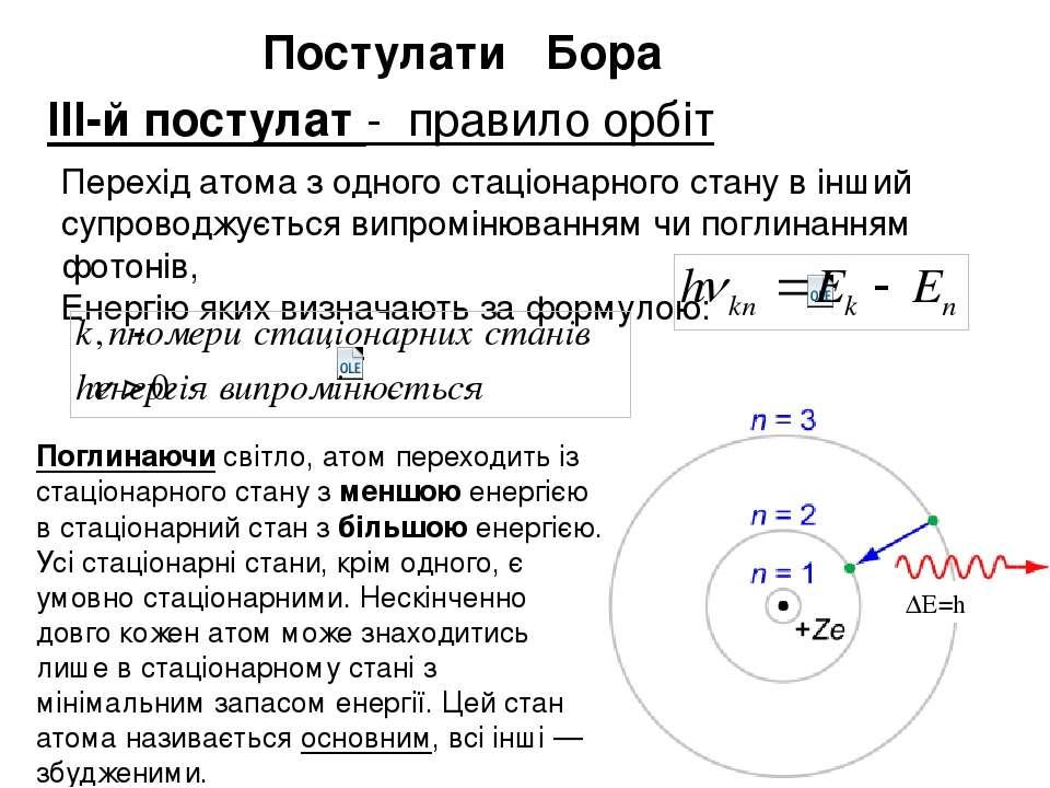 Перехід атома з одного стаціонарного стану в інший супроводжується випромінюв...