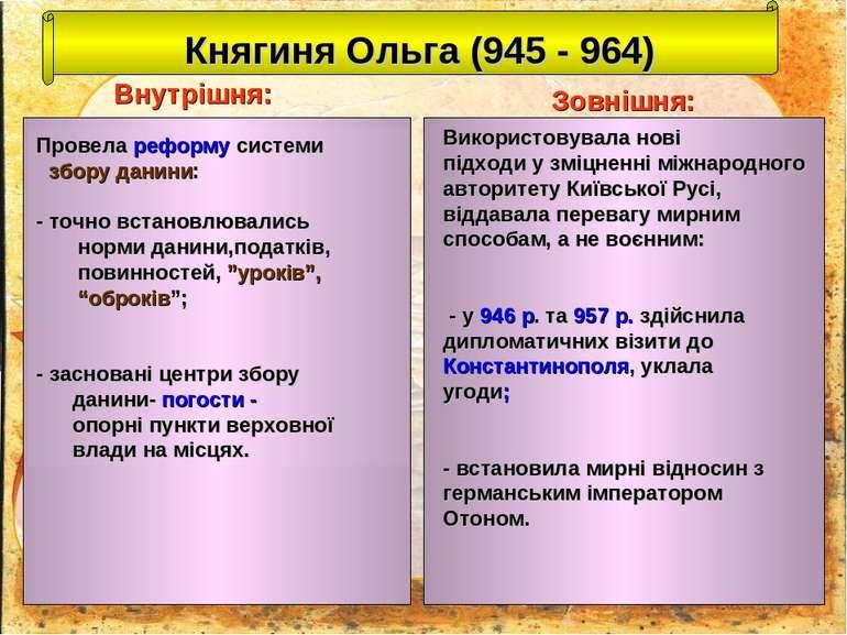 Княгиня Ольга (945 - 964) Внутрішня: Зовнішня: Провела реформу системи збору ...