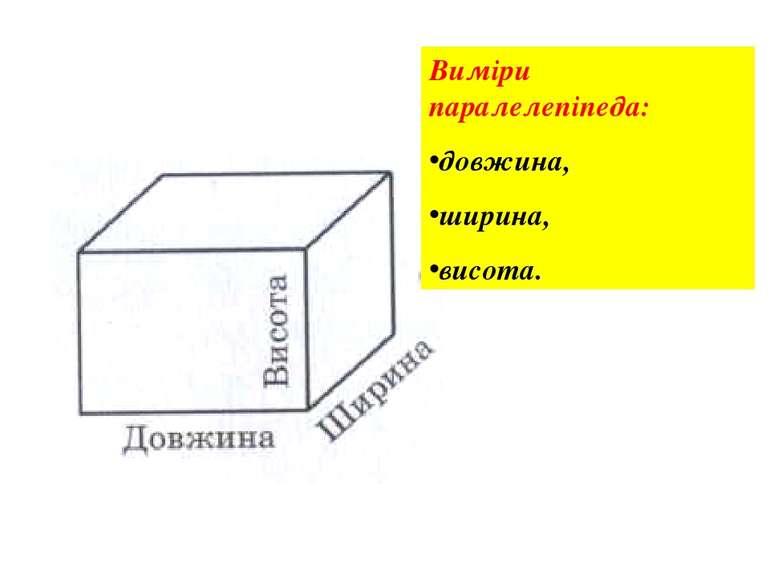 Виміри паралелепіпеда: довжина, ширина, висота.