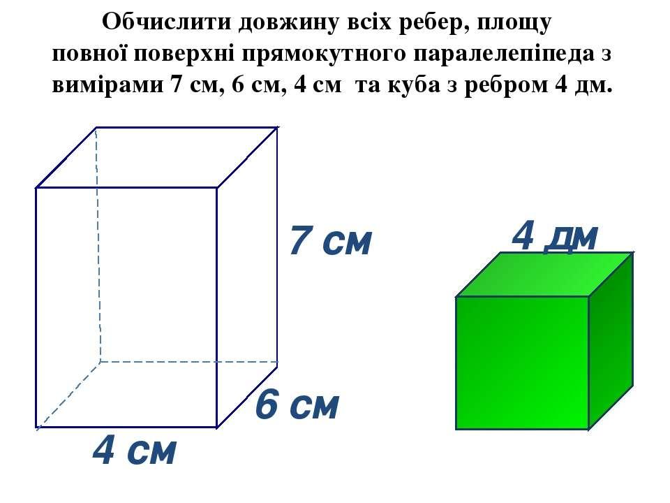 6 cм 4 cм 7 cм Обчислити довжину всіх ребер, площу повної поверхні прямокутно...