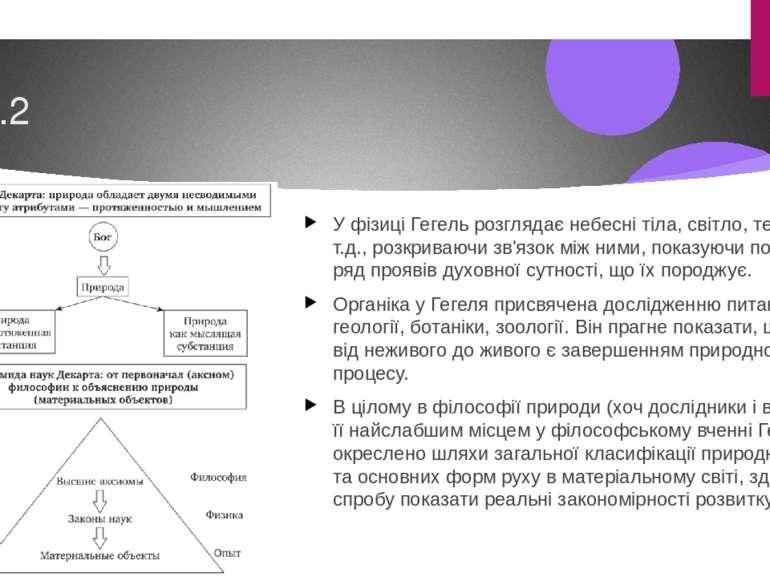 6.2 У фізиці Гегель розглядає небесні тіла, світло, теплоту і т.д., розкриваю...