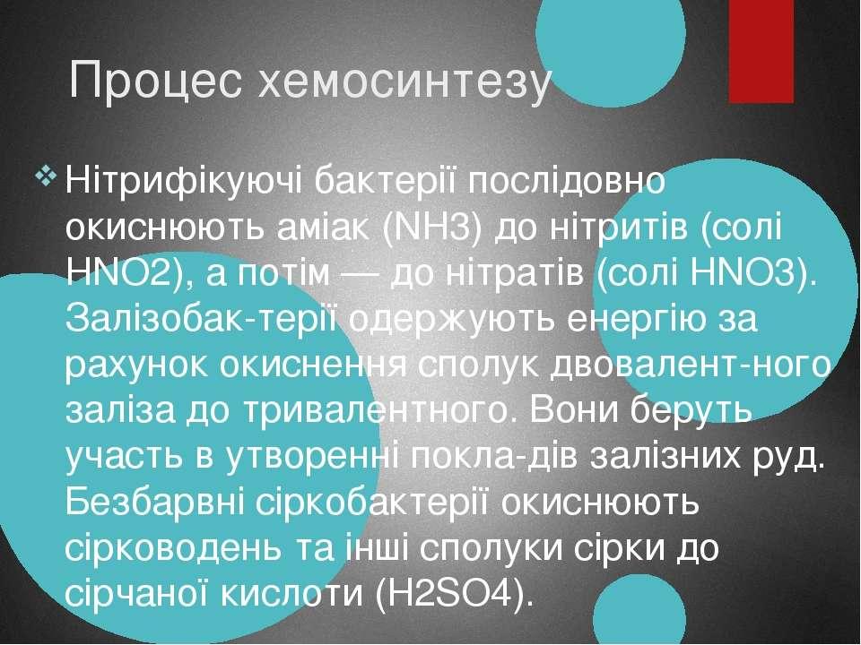 Процес хемосинтезу Нітрифікуючі бактерії послідовно окиснюють аміак (NH3) до ...