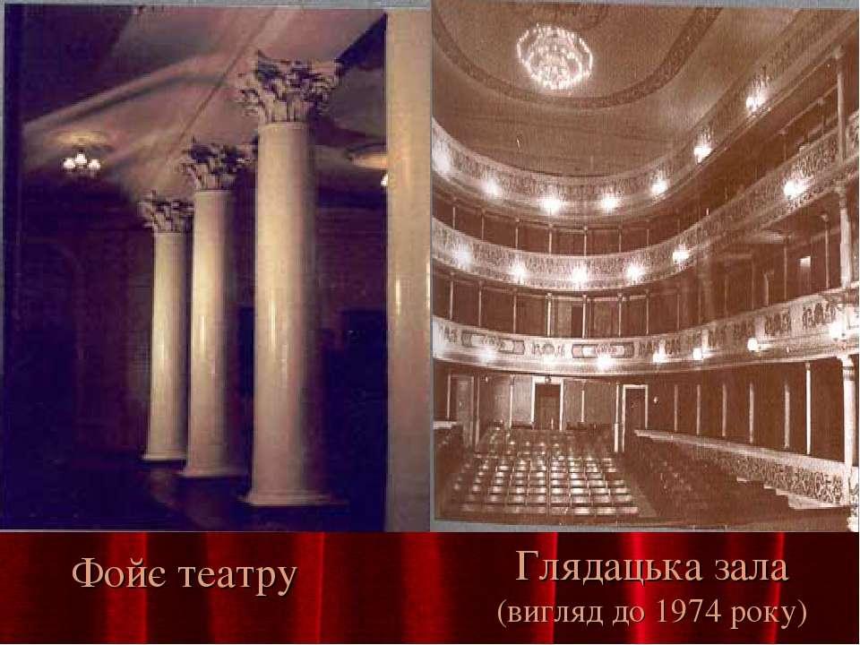 Фойє театру Глядацька зала (вигляд до 1974 року)