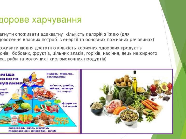 1.Здорове харчування Прагнути споживати адекватну кількість калорій з їжею (д...