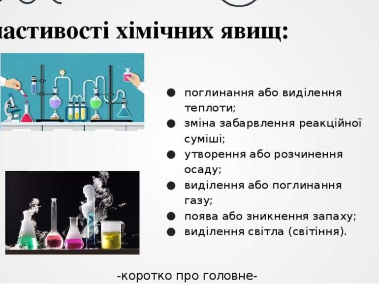 Властивості хімічних явищ: поглинання або виділення теплоти; зміна забарвленн...