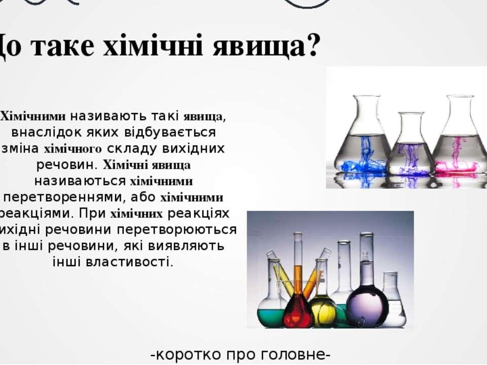 -коротко про головне- Що таке хімічні явища? Хімічними називають такі явища, ...
