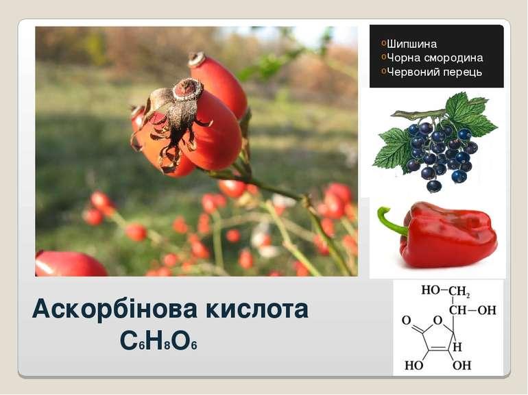 Аскорбінова кислота C6H8O6 Шипшина Чорна смородина Червоний перець