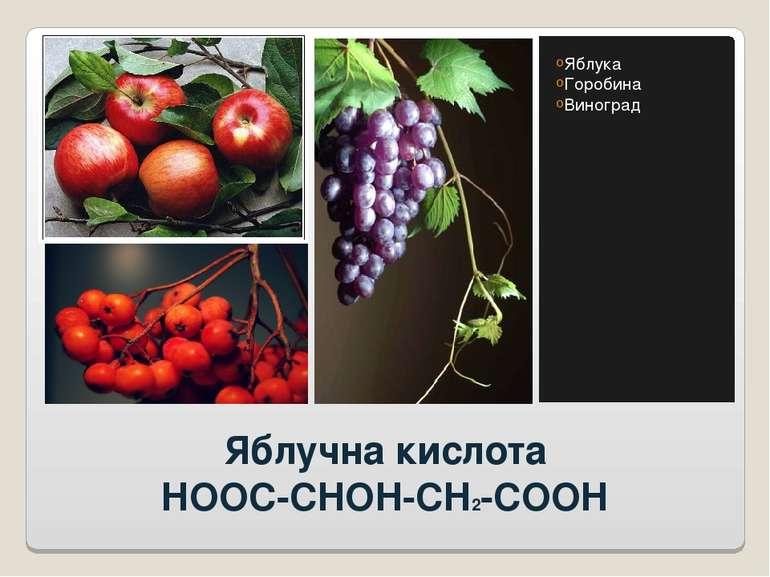 Яблучна кислота HOOC-CHOH-CH2-COOH Яблука Горобина Виноград