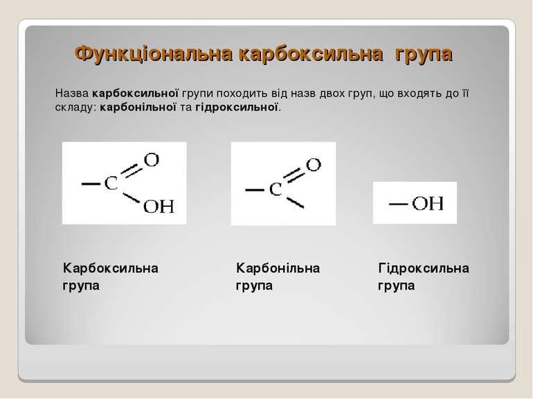 Функціональна карбоксильна група Назва карбоксильної групи походить від назв ...