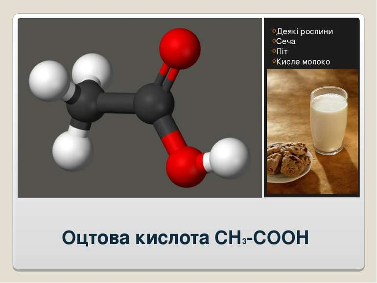 Оцтова кислота CH3-COOH Деякі рослини Сеча Піт Кисле молоко