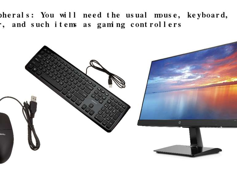 · Peripherals: You will need the usual mouse, keyboard, monitor, and such ite...