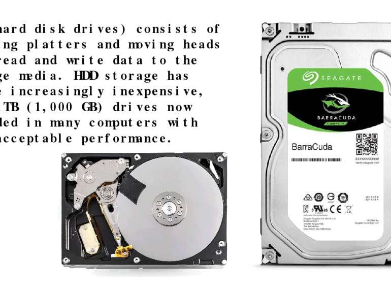 HDD (hard disk drives) consists of spinning platters and moving heads that re...