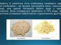 Відмиту із шматочка тіста клейковину називають сирою. Сира клейковина – це пр...