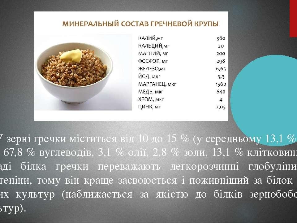 У зерні гречки міститься від 10 до 15 % (у середньому 13,1 %) бі лка, 67,8 % ...