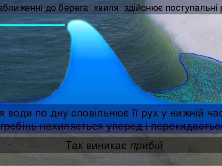 При наближенні до берега хвиля здійснює поступальні рухи Тертя води по дну сп...