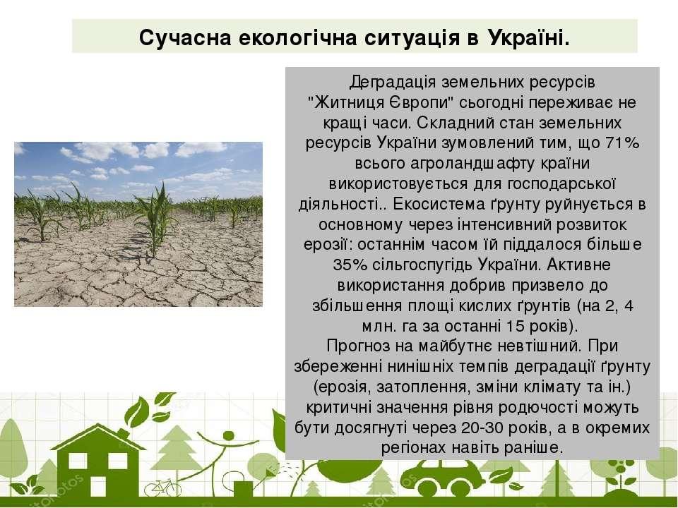 """Сучасна екологічна ситуація в Україні. Деградація земельних ресурсів """"Житниця..."""