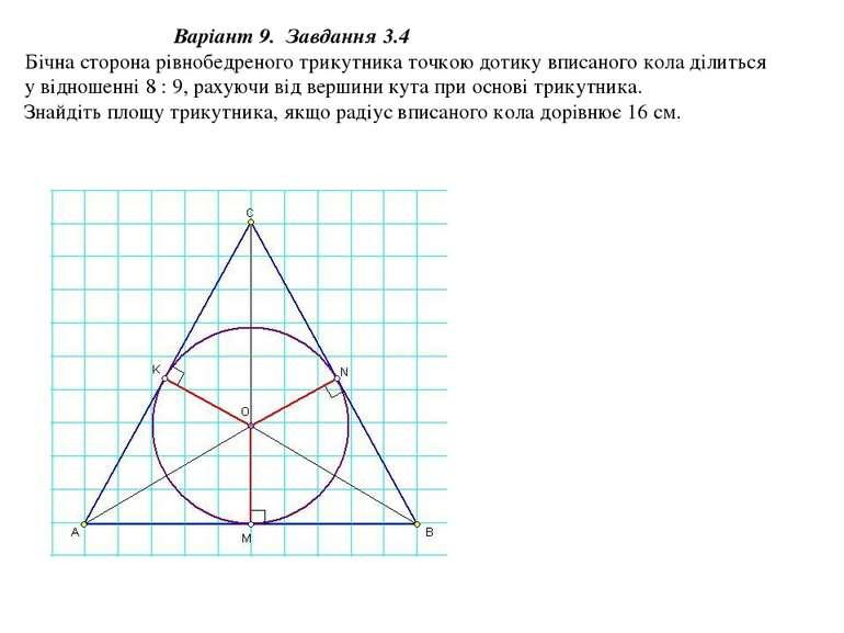 Варіант 9. Завдання 3.4 Бічна сторона рівнобедреного трикутника точкою дотику...