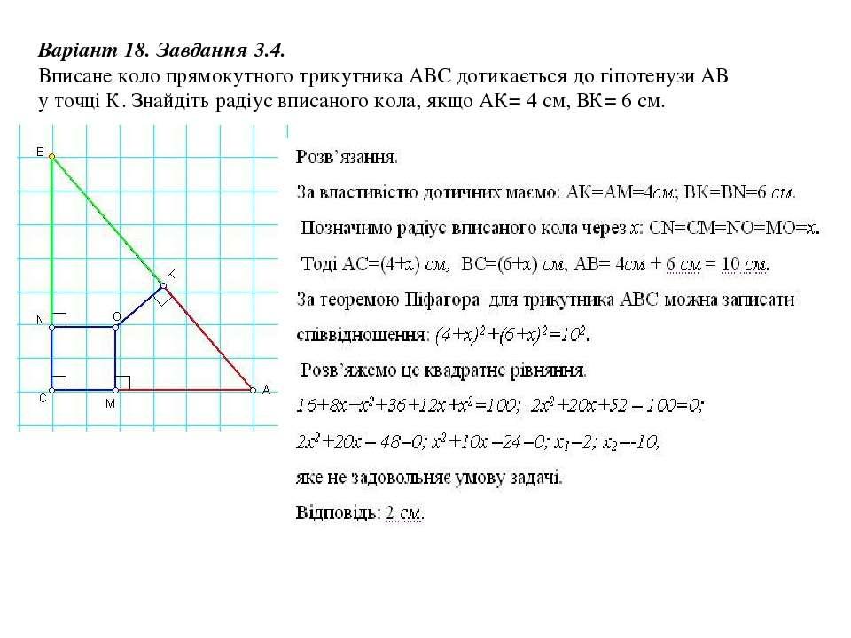 Варіант 18. Завдання 3.4. Вписане коло прямокутного трикутника АВС дотикаєтьс...