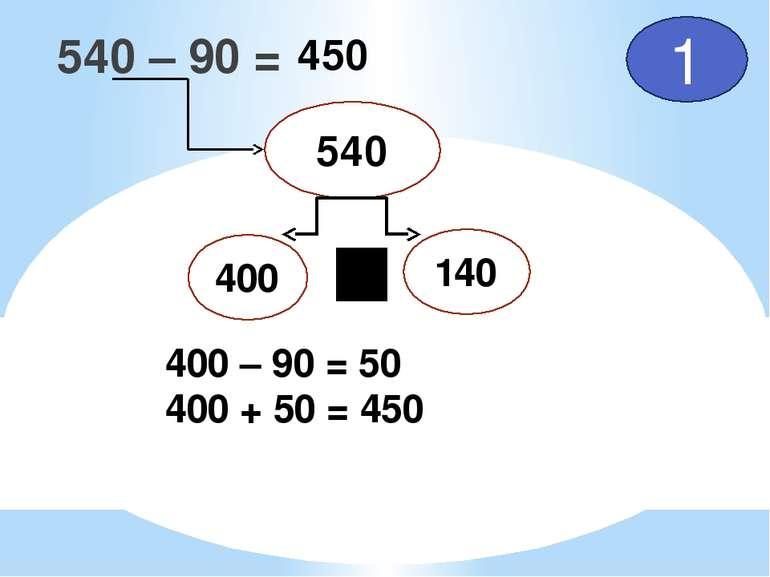 540 – 90 = 540 400 140 1 400 – 90 = 50 400 + 50 = 450 450