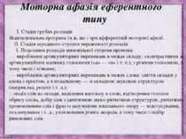 Моторна афазія еферентного типу I. Стадія грубих розладів Відновлювальна прог...