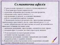Семантична афазія Стадія розладів середнього та легкого ступеня вираженості 1...