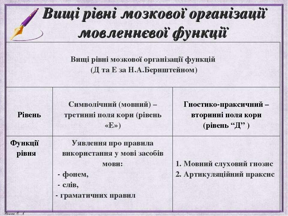 Вищі рівні мозкової організації мовленнєвої функції Вищі рівні мозкової орган...