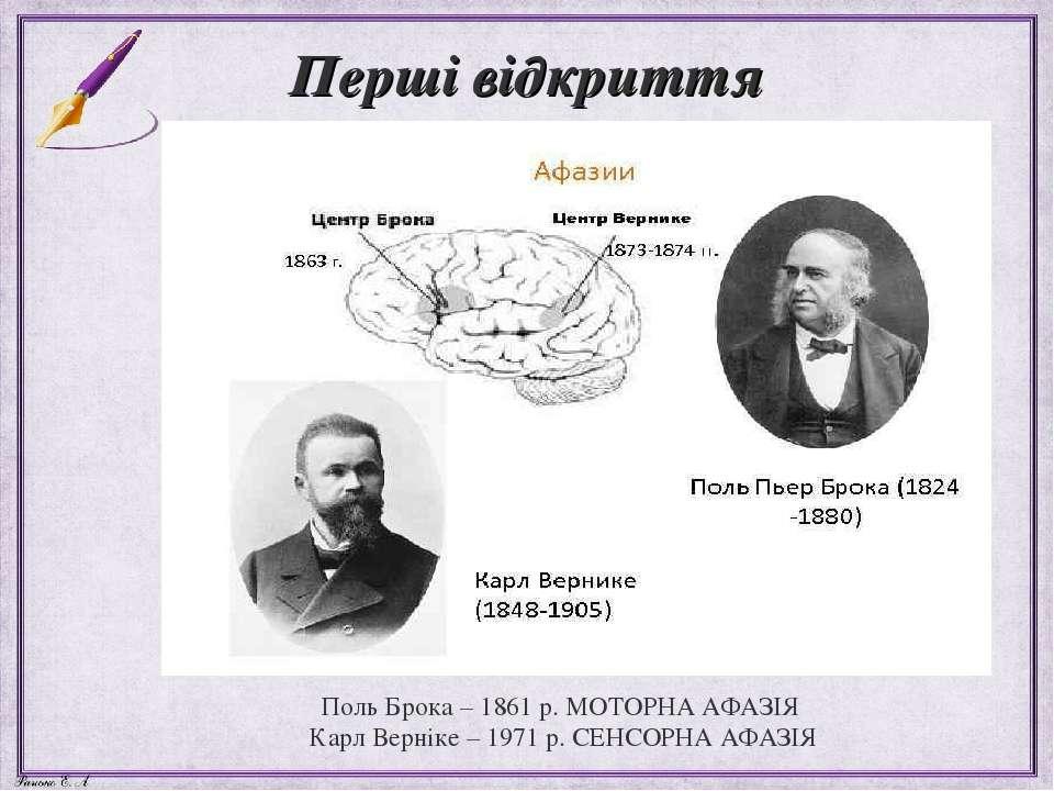Перші відкриття Поль Брока – 1861 р. МОТОРНА АФАЗІЯ Карл Верніке – 1971 р. СЕ...