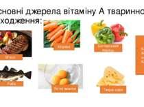 Основні джерела вітаміну А тваринного походження: М'ясо Риба Морква Яєчні жов...