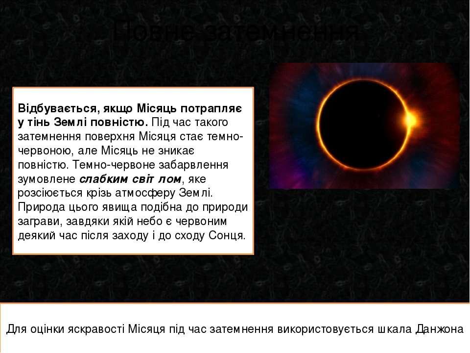 Повне затемнення Відбувається, якщо Місяць потрапляє у тінь Землі повністю. П...