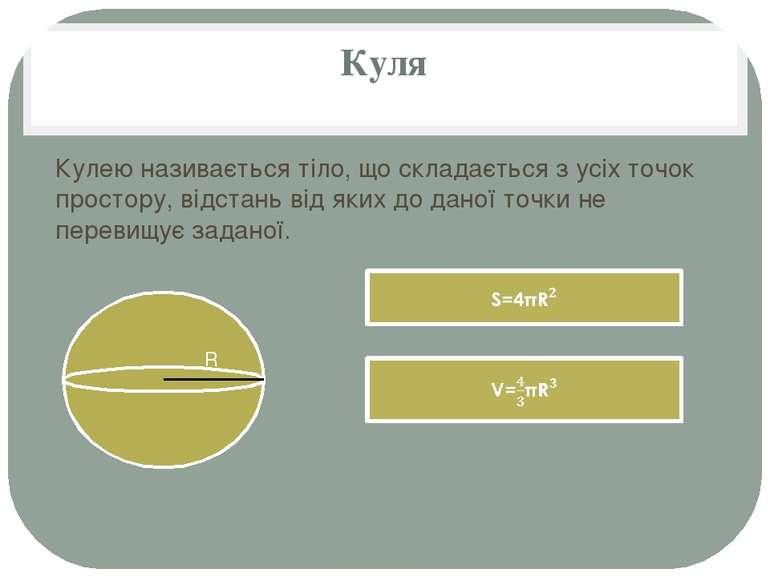 Куля Кулею називається тіло, що складається з усіх точок простору, відстань в...