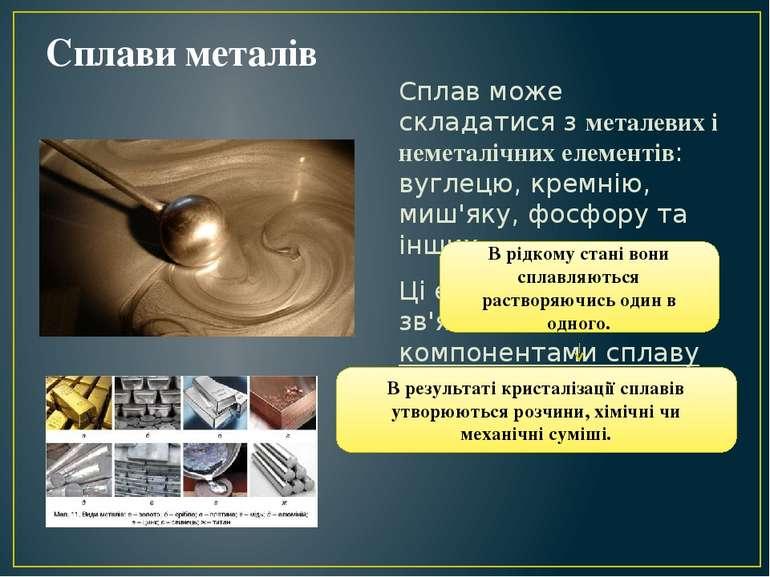 Сплави металів Сплав може складатися з металевих і неметалічних елементів: ву...