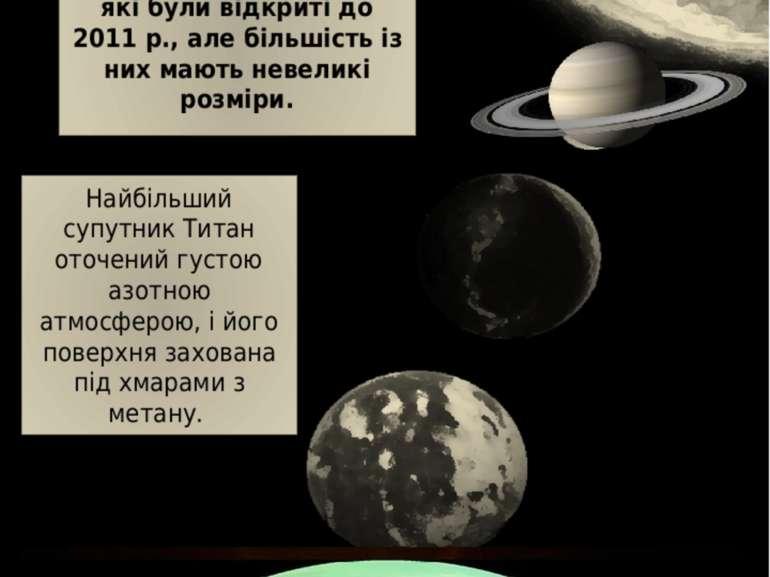 """Сім'я Сатурна """"Сім'я"""" Сатурна складається із системи кілець і 62 супутників, ..."""